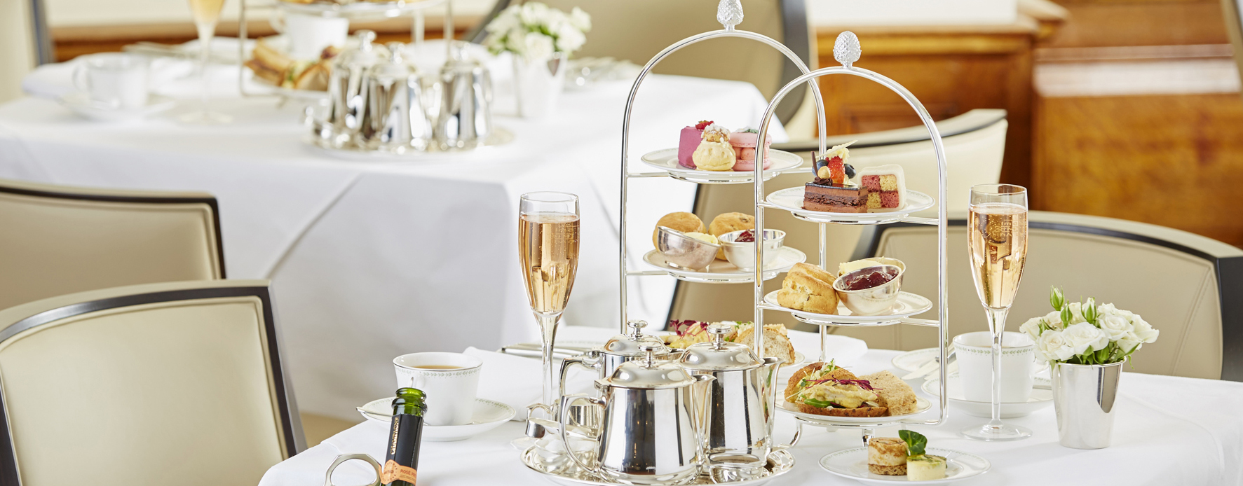 Lady Betty Afternoon Tea in the Imperial Rooms at Bettys Tea Rooms in Harrogate Champagne cakes and silver tea service