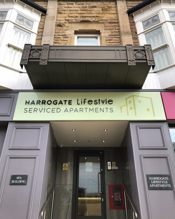 Harrogate Lifestyle Serviced Apartments opposite the International Convention Centre accommodation entrance