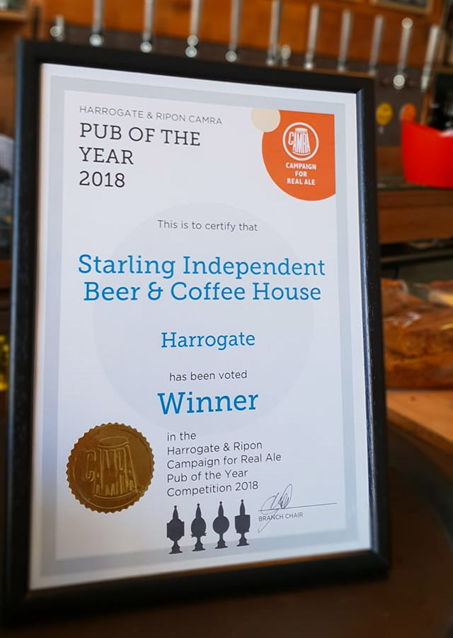 To give you the real feel for the Harrogate Lifestyle, the pubs you need to visit are The Starling Independant Beer and Coffee House, voted PUB OF THE YEAR 2018 in the Harrogate & Ripon Campaign for Real Ale Pub of the Year, Certificate on bar
