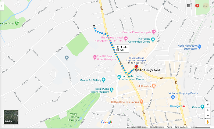 Google map directions from Harrogate Lifestyle Apartments to Duchy Road FREE on-street car parking