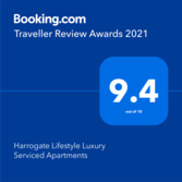Booking.com Traveller Review Awards 2021 Harrogate Lifestyle Apartments 	Accommodation Harrogate UK